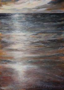 Meer, Acrylmalerei, Wolken, Nordsee