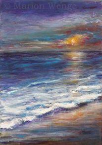 Malerei, Sonne, Brandung, Landschaftsmalerei