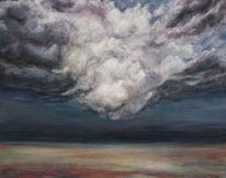 Acrylmalerei, Sturm, Landschaft, Wolken