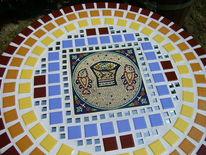Balkon, Mosaik, Lichtblau, Keramik