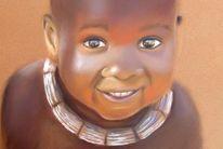 Malerei, Afrikanisches kind, Ausdruck, Pastellmalerei