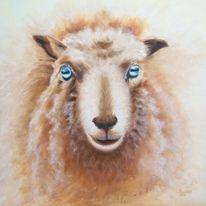 Ölmalerei, Tierportrait, Tiere, Schaf