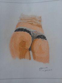 Gesäß, Pastellmalerei, Frau, Farben