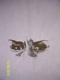 Tuschmalerei, Augen, Schwarz, Finster