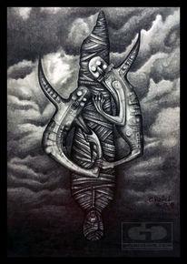 Zeichnen, Bleistiftzeichnung, Verfolgung, Böse