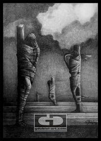 Verfolgung, Bleistiftzeichnung, Surreal, Zeichnen