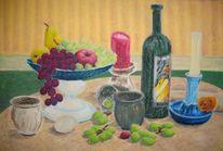 Stillleben, Wein, Pastellmalerei, Malerei