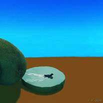 Schwimmen, Kiwi, Digital, Digitale kunst