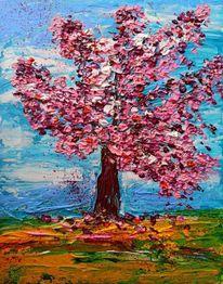 Kirsche, Frühling, Baum, Spachteltechnik