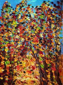Baum, Spachteltechnik, Himmel, Herbst