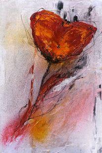 Expressionismus, Blumen, Rot schwarz, Abstrakt