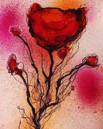 Abstrakt, Mohn, Aquarellmalerei, Blumen