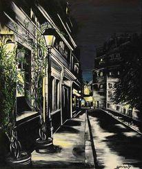 Acryl auf leinwand, Laterne, Frankreich paris, Malerei