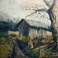 Landschaft, Dönberg, Alte scheune, Ölmalerei