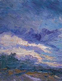 Feld, Wolken, Abend, Licht