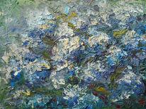 Garten, Sommer, Hortensien, Gemälde