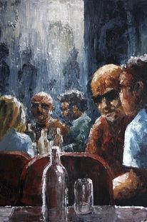 Gemälde, Menschen, Acrylmalerei, Strassencafe