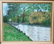 Wasser, Ufer, Kanal, Malerei