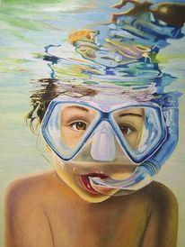 Taucher, Taucherbrille, Wasserreflektionen, Wasser