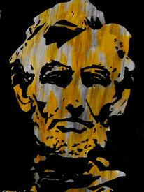 Malerei, Lincoln, Portrait, Acrylmalerei