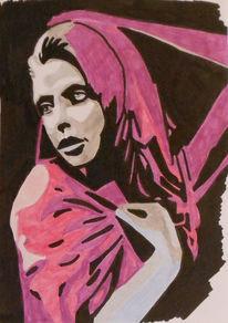 Frau mit tuch, Malerei, Portrait, Frau