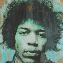 Jimmy hendrix, Portrait, Patina, Malerei