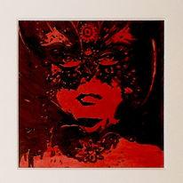 Fantasie, Frau mit maske, Malerei, Acrylmalerei