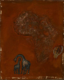 Afrika, Collage, Rost, Patina