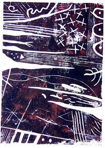 Abstrakt, Linolschnitt, Druckgrafik,