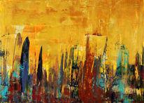 Abstrakt, Skyline, Gold, Stadt