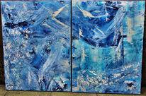 Doppelt, Blau, Abstrakt, Tiefe