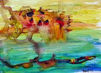 Höhle, Aquarellmalerei, Tauchen, Wasser