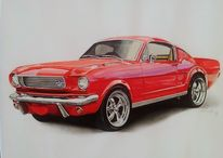 Auto, Oldtimer, Mustang, Rot
