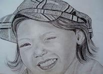 Portrait, Kind, Kappe, Gesicht