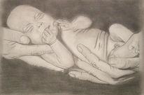 Bleistiftzeichnung, Schwarz weiß, Baby, Hände