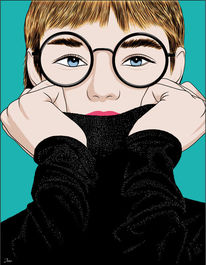 Zukunft, Brille, Anziehen, Illustrationen