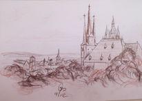 Dom, Erfurt, Kohlezeichnung, Kirche