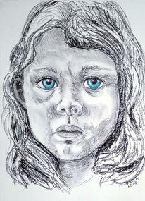 Blaue augen, Kind, Mädchen, Trauer