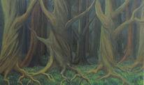 Ölmalerei, Kastanien, Rinde, Baum