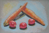 Karotte, Tomate, Zeichnungen