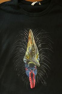 Helmkasuar, Vogel, Shirt, Textilmalerei