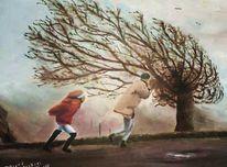 Nebel, Ölmalerei, Herbst, Wetter