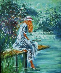 Ölmalerei, Erfrischung, Blond, Hut