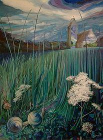 Blau, Grün, Landschaft, Malerei