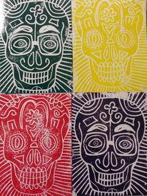 Kunstunterricht, Tag der toten, Drucktechnik, Lustig