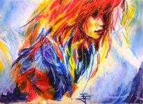 Pastellmalerei, Rot, Haare, Rote haare