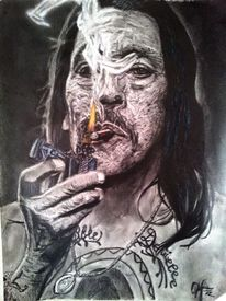 Trejo, Trash, Portrait, Buntstifte