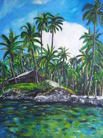 Karibik, Grün, Meer, Holzhütte
