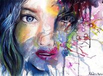 Bunt, Gesicht, Aquarellmalerei, Farben