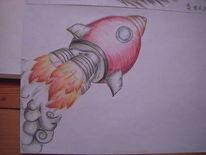 Rakete, Comic, Malerei